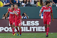 Chicago Fire midfielder Marco Pappa celebrates his goal with teammate Logan Pause. The Chicago Fire beat the LA Galaxy 3-2 at Home Depot Center stadium in Carson, California on Sunday August 1, 2010.