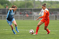 Piscataway, NJ - Saturday May 20, 2017: Kelley O'Hara, Poliana during a regular season National Women's Soccer League (NWSL) match between Sky Blue FC and the Houston Dash at Yurcak Field.  Sky Blue defeated Houston, 2-1.