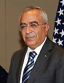 Prime Minister Salam Fayyad of the Palestinian Authority meets United States Secretary of State Hillary Rodham Clinton at the David Citadel Hotel in Jerusalem, Israel, on Wednesday, September 15, 2010. .Credit: Department of State via CNP.