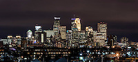 Downtown Minneapolis, Minnesota skyline at night.