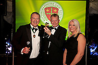 Practice Manager of the Year, Mike Middleton of Rupert Bear Murray Davies is pictured centre with Club President Austin Moore and Claire Dickerson of sponsors Blusource Legal
