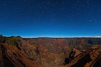 Starry sky over Waimea Canyon