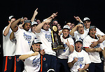 20 APR 2012: The University of Illinois team celebrates their overall team victory during the Division I Men's Gymnastics Championship held at the Lloyd Noble Center on the University of Oklahoma campus in Norman, OK.  The University of Illinois claimed the national championship with 358.85 points. Stephen Pingry/NCAA Photos