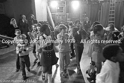 Anna Scher Children's Theatre, East End of London 1972.  Kids would come after school and be expected to work hard.  Here, they're doing some filming for the BBC.  Some went on to have careers in the industry and a few became household names: Pauline Quirk, Phil Daniels.