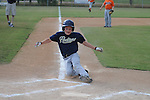 The Padres' Davis Burns scores in 10 year old Oxford Park Commission baseball action at FNC Park in Oxford, Miss. on Thursday, May 17, 2012.