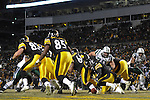 PITTSBURGH, PA - JANUARY 23: Ben Roethlisberger #7 of the Pittsburgh Steelers attempts to recover a fumbled ball in the end zone against the New York Jets in the AFC Championship Playoff Game at Heinz Field on January 23, 2011 in Pittsburgh, Pennsylvania(Photo by: Rob Tringali) *** Local Caption *** Ben Roethlisberger
