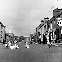 Maint St. Dungloe, Co Donegal.02/04/1957..Dungloe  is a Gaeltacht town in County Donegal, Ireland. It is the main town in the Rosses and the largest in the Donegal Gaeltacht. Dungloe developed as a town in the middle of the 18th Century, and now serves as the administrative and retail centre for the west of Donegal, and in particular the Rosses, with the only mainland secondary school for the area.