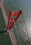 A view of the Golden Gate Bridge in San Francisco California from the air.