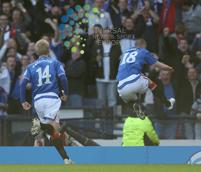 Kenny Miller celbrates scoring the winner during The Co-Operative League Cup Final 2009/10 between St Mirren and Rangers at The National Stadium Hampden Park Glasgow 21/03/10..Picture by Ricky Rae/universal News & Sport (Scotland).