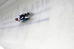 7 February 2009: Reinhold Rainer slides for Italy in the Men's Competition at the 41st FIL Luge World Championships, in Lake Placid, New York, USA. .  .Mandatory Photo Credit: Ed Wolfstein Photo