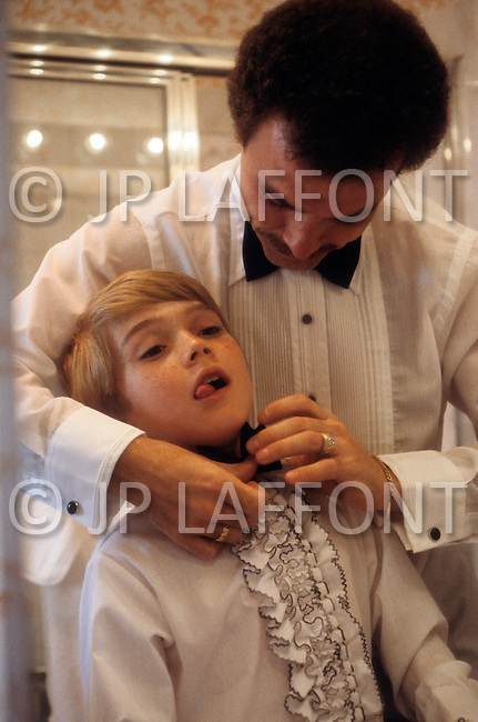 Beverly Hills, Los Angeles, California - April 9, 1979. This portrait of the young Ricky Schroder (8) was taken while he was getting ready for the 1979 Academy Awards, where he won the Golden Globe Award for New Star of the Year for his role in Academy Award-winning film The Champ, directed by Franco Zeffirelli. Ricky Schroder (born April 13, 1970) is an American actor and director, who is known for his debut in The Champ and, more recently, his role in television crime drama NYPD Blue.