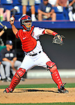 12 March 2011: Washington Nationals' catcher Jesus Flores in action during a Spring Training game against the New York Yankees at Space Coast Stadium in Viera, Florida. The Nationals edged out the Yankees 6-5 in Grapefruit League action. Mandatory Credit: Ed Wolfstein Photo