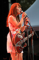 Canadian singer-songwriter, and multiple Juno Award winner, Feist plays to a sold out crowd, Tuesday, Aug. 5th, 2008, at Deer Lake Park in Burnaby, British Columbia. (Scott Alexander/pressphotointl.com)