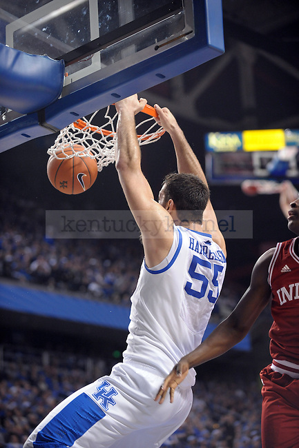 UK's Josh Harrellson dunks the ball during the first half of the University of Kentucky Men's basketball game against Indiana at Rupp Arena in Lexington, Ky., on 12/11/10. Uk led at half 32-31. Photo by Mike Weaver | Staff