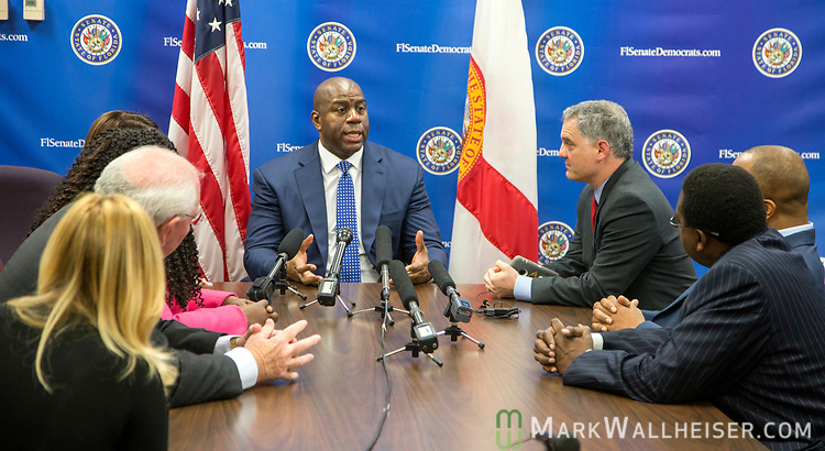 """Earvin """"Magic"""" Johnson, retired professional basketball player and current president of operations for the Los Angeles Lakers of the NBA, met with the Florida Senate Democratic Caucus  about health care at the Florida Capitol in Tallahassee Florida March 13, 2017."""