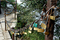 Padlocks left by pilgrims on Mount Hua, one of China's five Sacred Taoist Mountains, in Shaanxi, China.