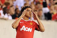 Rafael (21) of Manchester United reacts to a missed scoring opportunity. Manchester United (EPL) defeated the Philadelphia Union (MLS) 1-0 during an international friendly at Lincoln Financial Field in Philadelphia, PA, on July 21, 2010.