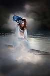 fantasy image of woman in a boat