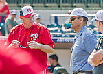 20 March 2015: Washington Nationals Manager Matt Williams chats with former baseball manager and player Joe Torre prior to a Spring Training game against the Houston Astros at Osceola County Stadium in Kissimmee, Florida. The Nationals defeated the Astros 7-5 in Grapefruit League play. Mandatory Credit: Ed Wolfstein Photo *** RAW (NEF) Image File Available ***