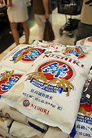 California rice at Mitsuwa asian market during their Obon summer festival in Edgewater, NJ on Saturday. August 18, 2012. The supermarket chain of nine stores located across the country sells Japanese food and goods.  The company holds a yearly summer festival inviting customers to their facilities to enjoy traditional food and partake of the many sales offered on their merchandise. (© Richard B. Levine)