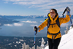 Backcountry skiing and climbing on Incline Peak with spectacular Lake Tahoe Views