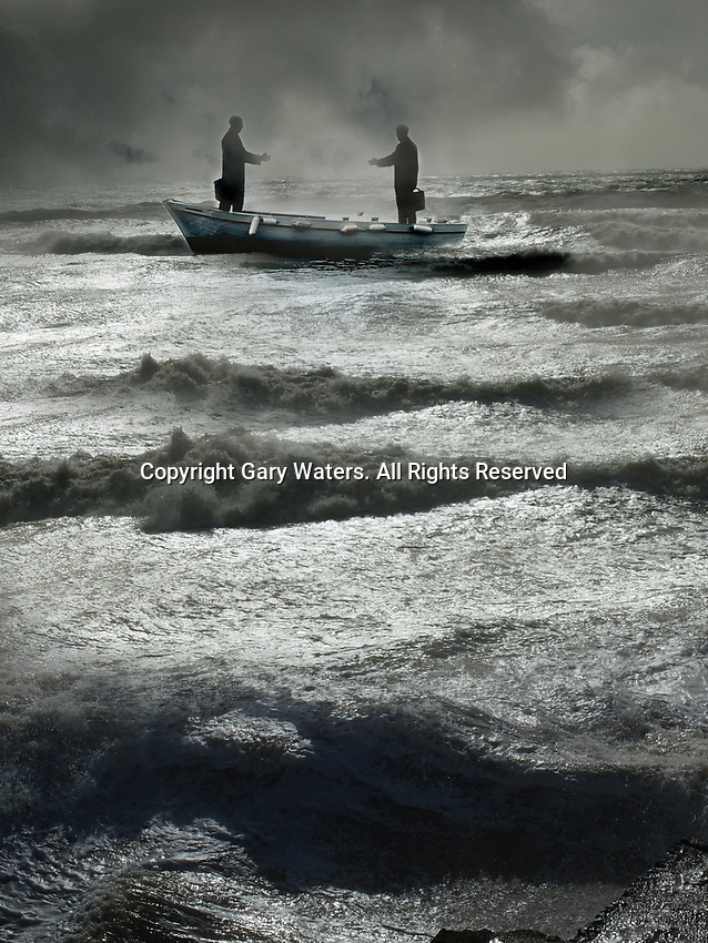 Two businessmen reaching to shake hands in boat on stormy sea