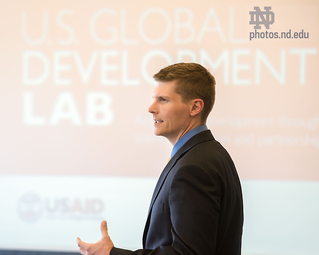 Apr. 17, 2015; Michael Sweikar, Managing Director of the Notre Dame Institute for Global Development, speaks at an IGD event on campus. (Photo by Matt Cashore/University of Notre Dame)