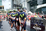 Movistar Team at sign on before the start of Stage 2 the Nation Towers Stage of the 2017 Abu Dhabi Tour, running 153km around the city of Abu Dhabi, Abu Dhabi. 24th February 2017<br />