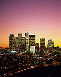 Sunset over downtown LA from Elysian park with skyscrapers in the Downtown District, Los Angeles California USA