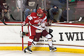 Bobo Carpenter (BU - 14), Matthew Gaudreau (BC - 21) - The visiting Boston University Terriers defeated the Boston College Eagles 3-0 on Monday, January 16, 2017, at Kelley Rink in Conte Forum in Chestnut Hill, Massachusetts.