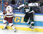 Matt Schepke (Michigan State - Warren, MI) misses Matt Greene (Boston College - Plymouth, MA). The Michigan State Spartans defeated the Boston College Eagles 3-1 (EN) to win the national championship in the final game of the 2007 Frozen Four at the Scottrade Center in St. Louis, Missouri on Saturday, April 7, 2007.