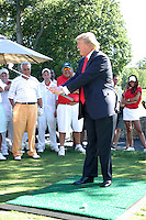 Donald Trump at the Alonzo Mourning &quot;ZO'S MILLION DOLLAR SHOOT-OUT&quot; charity event at the Trump National Golf Club in Westchester, NY<br /> <br /> August 21, 2006<br /> <br /> &copy; Walik Goshorn / MediaPunch