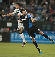 Sebastien Le Toux (left) goes up for the headers against Bobby Burling (right). The San Jose Earthquakes tied the Philadelphia Union 0-0 at Buck Shaw Stadium in Santa Clara, California on July 9th, 2011.