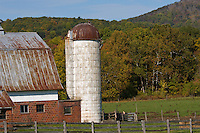 Close-up of a barn and silo-Maryland.