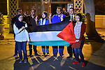 Egyptians hold Palestinian flag in front of Arab league headquarters coinciding with the Palestinian President Mahmoud Abbas' speech at the United Nations headquarters in New York, in Cairo on September 30, 2015. Earlier in the week the UN General Assembly, by a two-thirds vote, adopted a resolution allowing the flags of Palestine and the Holy See ''both of which have non-member observer status'' to be hoisted alongside those of member states. Photo by Amr Sayed