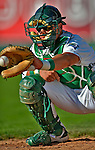 30 June 2012: Vermont Lake Monsters catcher Bruce Maxwell warms up his pitcher prior to a game against the Lowell Spinners at Centennial Field in Burlington, Vermont. Mandatory Credit: Ed Wolfstein Photo