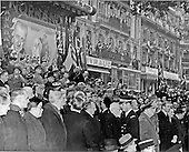 Paris, France - November 11, 1944 -- Enthusiastic crowds line Champs Elysee during the visit of Prime Minister Winston Churchill of the United Kingdom to Paris, France on November 11, 1944, when he was welcomed by General Charles De Gaulle.  Churchill and De Gaulle are seen in the lower right of the photograph..Credit: U.S Army via CNP