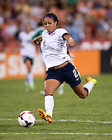Sydney Leroux (2) of the USWNT takes a shot during an international friendly at RFK Stadium in Washington, DC.  The USWNT defeated Mexico, 7-0.
