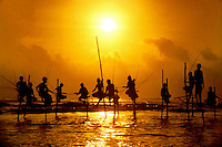 Fishermen stand on stilts along the southern coast of Sri Lanka. I made this image while retracing Mark Twain's journey around the world exactly 100 years earlier.