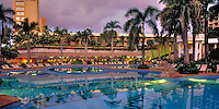 Kauai, Marriott, Resort, Swimming Pool, Reflections, beautiful, Dusk, Twilight,  Beach Club, Lihue, Kauai, Hawaii, USA, Panorama