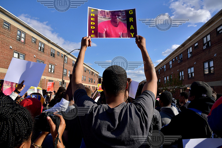 After the violent riots and looting following the funeral of Freddie Gray who died after being arrested in Baltimore, people demonstrate against the excessive use of force by the local police force. <br /> Gray (25) was arrested in 12 April 2015 and died of spinal injuries a week after his arrest which was recorded on a mobile phone by a bystander.