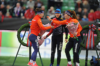 SPEED SKATING: HAMAR: Vikingskipet, 04-03-2017, ISU World Championship Allround, Podium 3000m Ladies, Ireen Wüst (NED), Martina Sábliková (CZE), Antoinette de Jong (NED), ©photo Martin de Jong