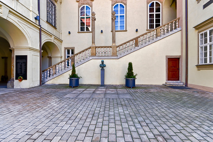 View of entrance to  the New Town Hall in Brno, in the Czech Republic. Brno is the 2nd largest city in the Czech Republic and a very popular tourist destination.