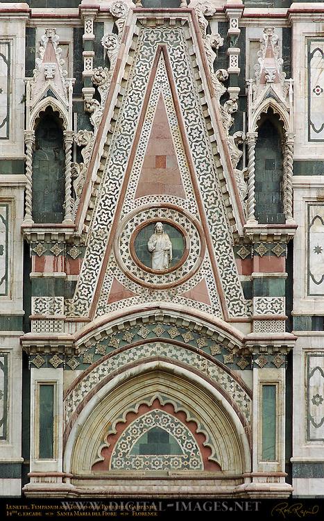 Lunette Tympanum and Tondo over Porta del Campanile 14th c Facade Santa Maria del Fiore Florence