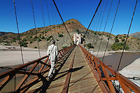 Suspension bridge between the Chuquisaca and Potosi departments in Bolivia