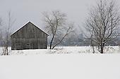 Old barn, winter scenic, Quebec Canada