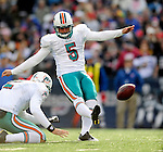 29 November 2009: Miami Dolphins' place kicker Dan Carpenter converts a touchdown in the second quarter against the Buffalo Bills at Ralph Wilson Stadium in Orchard Park, New York. The Bills defeated the Dolphins 31-14. Mandatory Credit: Ed Wolfstein Photo
