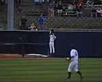 Ole Miss' Tanner Mathis (12) makes a catch at the wall vs. Memphis at Oxford-University Stadium in Oxford, Miss. on Tuesday, February 28, 2012. Ole Miss won 7-2.