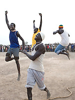 Celebrations for the winners of the tug of war, the most popular event, at the Twic Olympics in Wunrok, Southern Sudan.