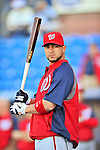 5 March 2012: Washington Nationals catcher Jesus Flores awaits his turn in the batting cage prior to a Spring Training game against the New York Mets at Digital Domain Park in Port St. Lucie, Florida. The Nationals defeated the Mets 3-1 in Grapefruit League play. Mandatory Credit: Ed Wolfstein Photo